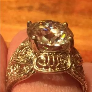 Jewelry - Huge Moissanite 4ct.+ Ring Silver Filigree Setting
